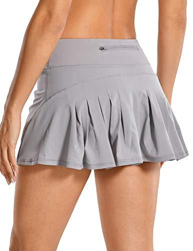 CRZ YOGA Mujer Deportivo Corto Falda Plisada Skorts de Tenis Golf con Interior Shorts Cromo Oscuro 38