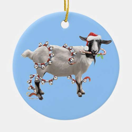 onepicebest Christmas Ornaments,Round Christmas with Jada The Goat Ceramic Ornament Xmas Gifts Presents, Holiday Tree Decoration Stocking Stuffer Gift