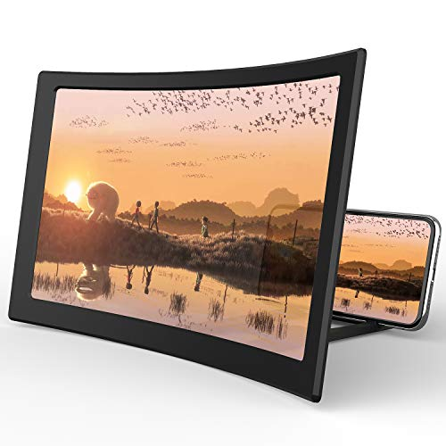 """Screen Magnifier for Cell Phone,[Upgraded] Curved Phone Accessories with Foldable Phone Stand 12"""" HD Mobile Phone Projector for Movies and Videos iPhone Accessories Gadgets Tech Gifts for Men"""