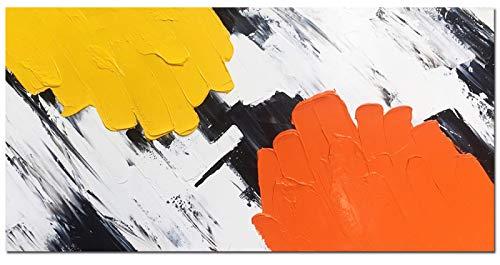Pittura A Olio Originale Per Dipinti A Mano,Pittura Ad Olio Su Tela Grande Dipinto A Mano Astratto Giallo Arancio Moderno Dipinti Murali Opere D'Arte Immagine Decoro Per Soggiorno Ufficio Decorazione
