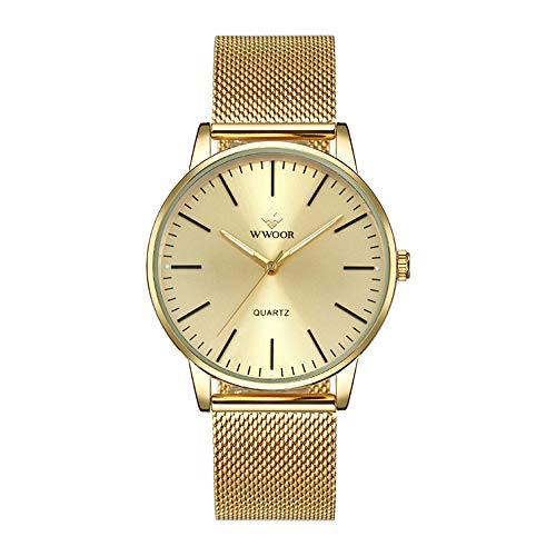 Relojes para Hombres Relojde Cuarzo Delgado Simple Malla de Acero Dorada Relojes para Hombres ultrafinos Marca Relojde Pulsera Masculino Resistente al Agua Relojdorado
