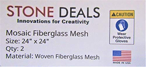 """Stone Deals Mosaic Mesh for Back Mounted Tile, 24"""" X 24"""" - Pack of 2, Non Sticky"""