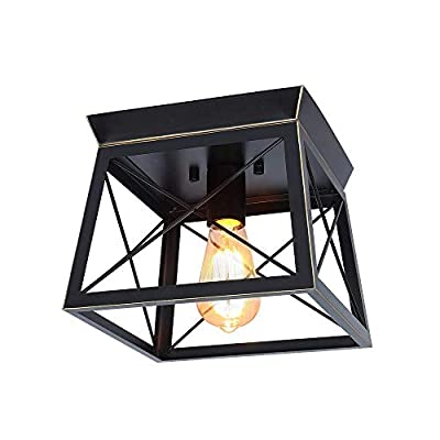 MStar Industrial Pendant Lights,Semi Flush Mount Close to Ceiling Light, Black and Gold Farmhouse Ceiling Lamp for Kitchen Island Dining Room Bedroom Foyer Hallway (2lt)