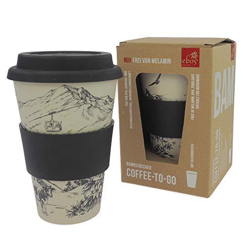 ebos Coffee-to-Go Becher aus Bambus – melaminfrei   Wiederverwendbarer Trink-Becher aus natürlichen Materialien   spülmaschinen- und mikrowellengeeignet   Alpenglück
