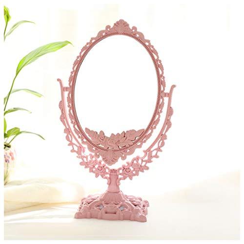 SMC Specchio Retro Europeo Doppio Lato Vanity Specchio Semplice Moda Portatile Principessa Specchio Desktop Trucco Specchio (Colore: Rosa, Dimensioni: 20X33cm)