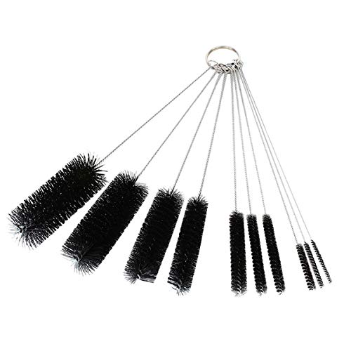 Canopus Nylon Tube Straw Brush Set: 8.2 Inch Small Bottle Brush Set for Cleaning Pipe, Straw, Test Tube, 10 Piece Variety Pack