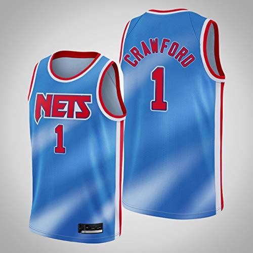 TGSCX NBA Jersey Brooklyn Nets 1# Jamal Crawford Capacitación de Baloncesto Ropa Deportiva y de Ocio Secado rápido Vestido sin Mangas Transpirable,M