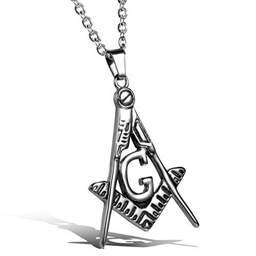 JewelryWe Schmuck Edelstahl Freimaurer Herren-Anhänger mit 55cm Kette, Halskette, Silber