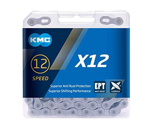 KMC x12 EPT Cadena de 12 velocidades, Unisex, Plateado Oscuro, 126 Links
