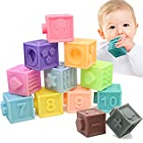 MARUMINE 12PCS Soft Baby Blocks, Material Chewing Teether Toys, Stacking Blocks, Bath Play Set with Numbers Animals Textures Sensory and Matching Game for 6 Months and Up
