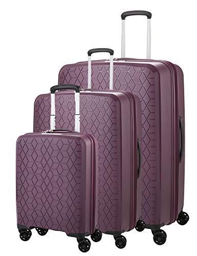 ABISTAB Verage Diamond 4-Zwillingsrollen Koffer-Set 3 teilig, TSA-Schloss, erweiterbar, PP Hartschale Trolley-Set S M L mit Handgepäck, S-55cm M-69cm, L-78cm, Violett