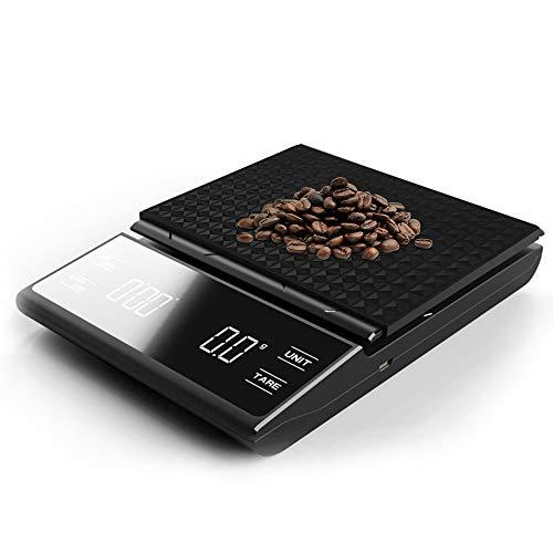 Báscula de Café Digital, Báscula de Cocina Báscula de Alimentos Multifuncional Mini Rectángulo Portátil para Cocina y Cafetería(Sin Batería)