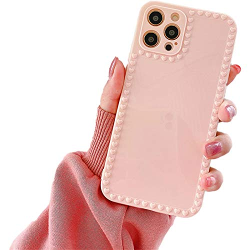 TIANLU Phone Case for iPhone 11 Square, 3D Love Heart Shape and Bow Knot Case Protective Phone Girly Case for Women(Rosa/Für iphone11)