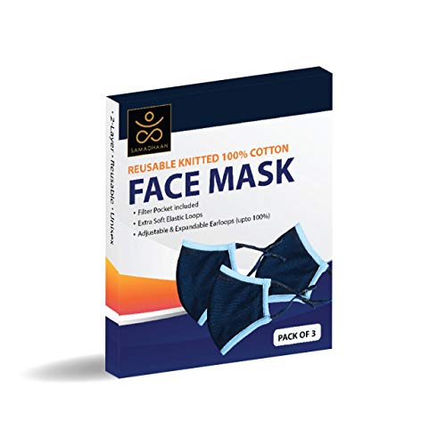 Face Mask - Reusable 100% Cotton 2 Layer Unisex Face Mask - 3 Pack Navy Blue