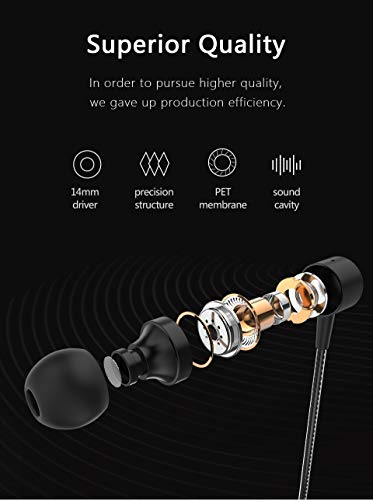 Professional Metal Headphone in Ear Wired Earphone Heavy Bass Sound Quality Music Sport Headset Headsets with Built-in Microphone 3.5mm in-Ear Wired Earphone (BK) 7