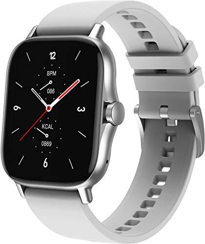 Smartwatch Bluetooth Telefonie Groß Voll Touchscreen Bildschirm Fitness Armband Herren Damen Kompatibel Android Kalorienzähler Schlafminitor Blutdruck Silber
