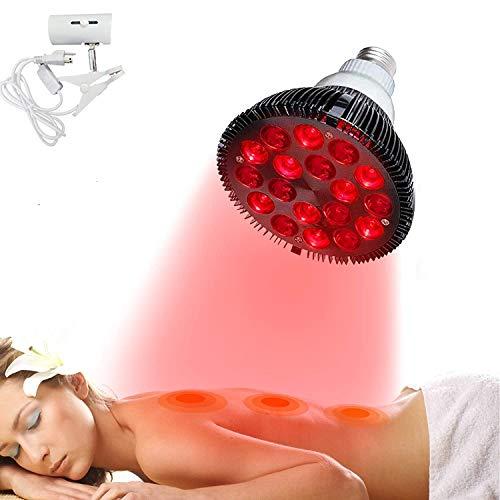 54W Red Lichttherapie-Lampe mit Lampenfassung, Gesichtslichttherapie 660nm & 850Nm 18 LEDs Nah-Infrarot-Lichttherapiegeräte für Gesicht, Hautgesundheit und Schmerzlinderung