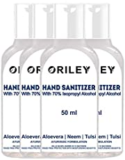 Oriley Waterless Hand Sanitizer 70% Isopropyl Alcohol Based Instant Germ Protection Sanitizing Gel Rinse-free Palm Cleaner Handrub (4 x 50ml)