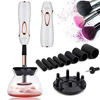DOTSOG Makeup Brush Cleaner Automatic Brush Cleaner Spinner Makeup Brush Tools with 8 Size Rubber Collars,Deep Cosmetic Brush Spinner for All Size Brushes White