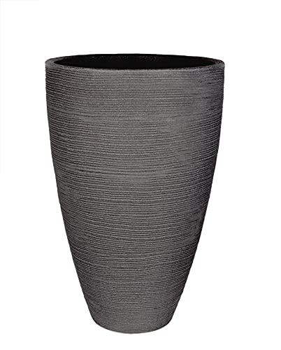 BigDean XXL Pflanzkübel in Granitstein-Optik - Anthrazit - runder Rillentopf - 60x40 - großer Outdoor Blumenkübel - 47 Liter - hoher Übertopf für Innen & Außen