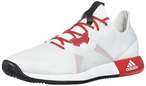 adidas Women's Adizero Defiant Bounce w Tennis Shoe, White/Scarlet/Core Black, 8 M US