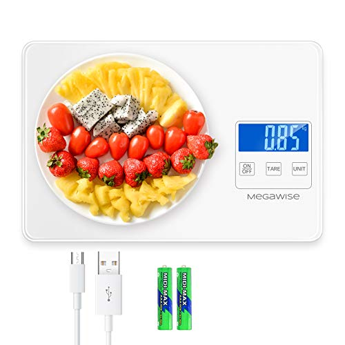 MegaWise Food Scale, 33lb Rechargeable Digital Kitchen Scale, Weight Grams and Ounces for Cooking Baking, 1g/0.04oz Precise Graduation, 5 Units Conversion Tare Function, Waterproof Tempered Glass