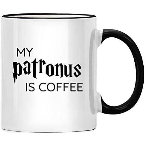 My Patronus is coffee - Kaffee Tasse, Spruch Kaffeetasse, Büro Chef Geschenk, Kaffeebecher Geschenkidee, Tassen mit Sprüchen, Kollegen Abschied lustig