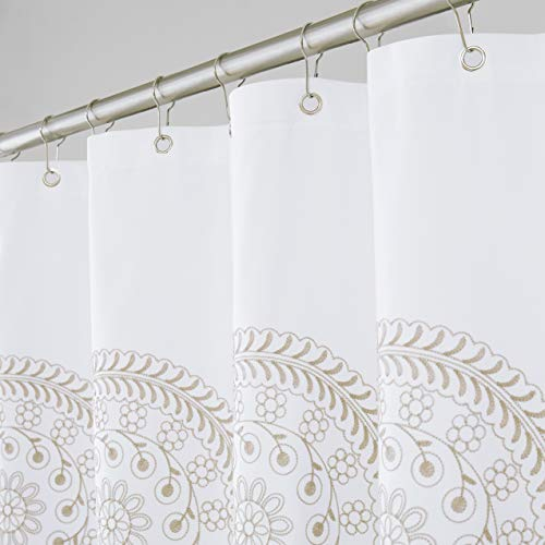 Jubilantex Tan and White Embroidered Shower Curtain for Bathroom, Farmhouse Boho Floral Fabric White and Beige/Ivory/Taupe/Cream Decorative Waterproof Rustic Bath Curtain for Spa Hotel, 70x72 Inches