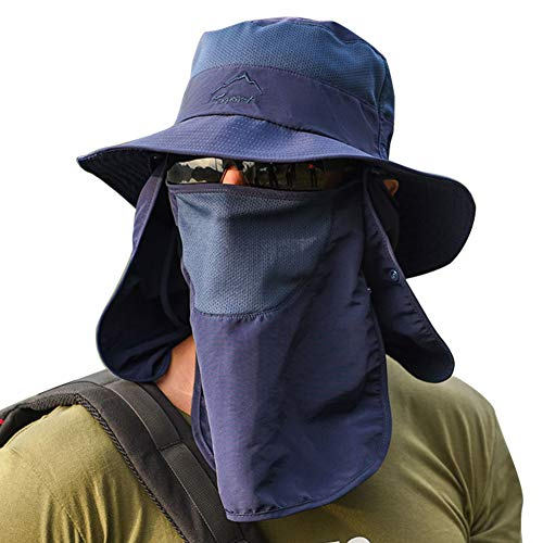 Panegy Chapeau Soleil Anti UV Homme Femme Outdoor Casquette Protection Cou Eté Respirant Hat Pêche Randonnée Cyclisme Voyage Bleu foncé