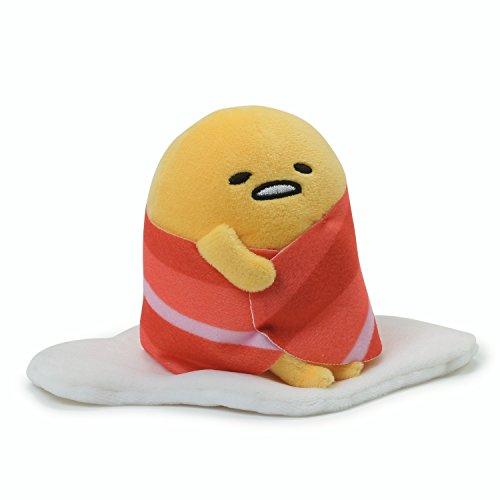 Gund - Anime: Sanrio Gudetama Das Faule Ei - Aufsitzen und in Bacon, Plüsch, 11.4 cm eingewickelt