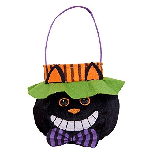 Funpa Halloween zak pompoen vampier, heks, kat, snoepjes, Halloween, accessoires Multicolore(black Cat)