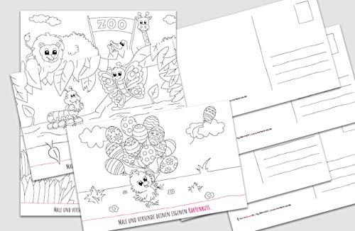10 Postkarten zum Ausmalen für Kinder | Ausmalpostkarten mit Tieren | 172 x 113 mm | 10 Karten im Set | liebevolle & kindgerechte Motive | handgearbeitete Designs