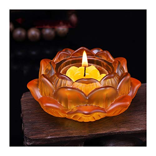FENCHUN Crystal Glass Lotus Flower Candle Tea Light Holder Candlestick Wedding Bar Party Valentine's Day Decor (Color : Brown)