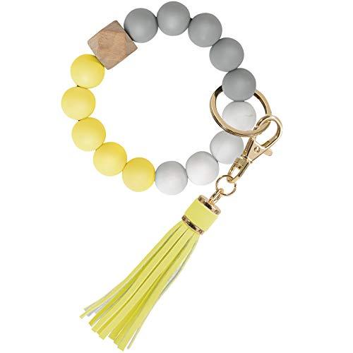 Keychain Wristlet, YUOROS Silicone Bead Key Ring Bracelet for Women (Yellow)