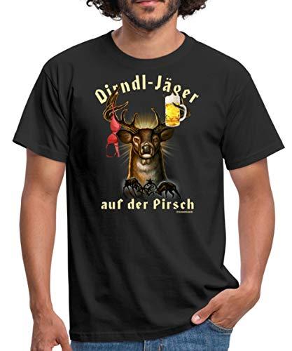 JD Jäger Designs Dirndl Jäger Auf Der Pirsch Hirsch Mit Bier Und BH Rahmenlos Geburtstag G Männer T-Shirt, 3XL, Schwarz