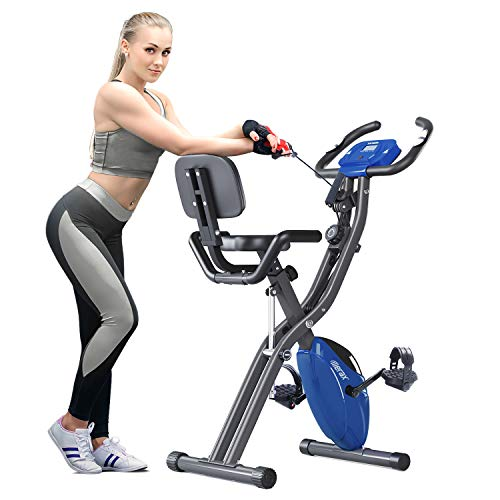 Merax 3 in 1 Adjustable Folding Exercise Bike Convertible Magnetic Upright Recumbent Bike with Arm Bands (Blue&Gray)