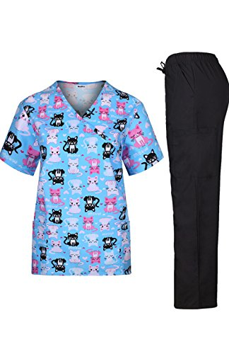 MedPro Women's Medical Scrub Set Cat Print Wrap Top and Cargo Pants Blue Pink XL
