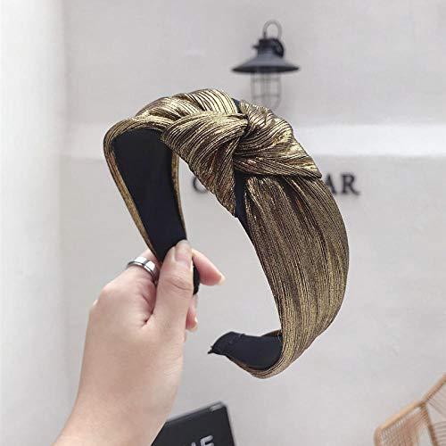 Diadema de cuero bohemio vintage con nudo diadema anudada diadema accesorios para el cabello-Oro