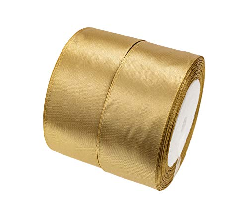 ATRibbons 50 Yards 1-1/2 inch Wide Satin Ribbon Perfect for Wedding,Handmade Bows and Gift Wrapping,25 Yards/Roll x 2 Rolls (Dark Gold)
