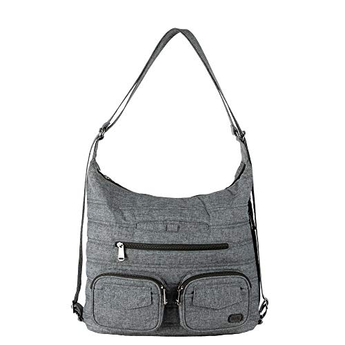RFID: Front zipper pocket Retractable and convertible straps Insulated pocket Wipeable bottom for easy cleaning and 4 plastic feet 4x15x12