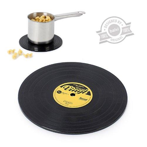 balvi Untersetzer The Coasters Farbe Schwarz In Form Einer Vinyl-Schallplatte Silikon 15 cm