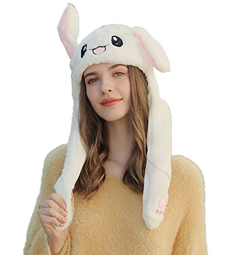 Bunny Mütze Kaninchen Ohren Hut Kneifen Spielzeug Airbag Beweglich Hutes Plüsch Geschenk für Frauen und Kinder (Weiß)
