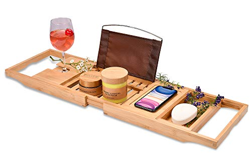 Homemaid Living Bamboo Bathtub Tray, Perfect Expandable Bathtub Caddy for Reading Rack or Tablet Holder, Premium Bath Tray Includes Wine Glass Holder,...