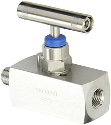 """PIC Gauge NV-SS-1/4-HS-180-MXF 316 Stainless Steel Straight Needle Valve with Hydraulic Service Seat, 1/4"""" Male NPT x 1/4"""" Female NPT Connection Size, 10000 psi Pressure by PIC Gauges"""