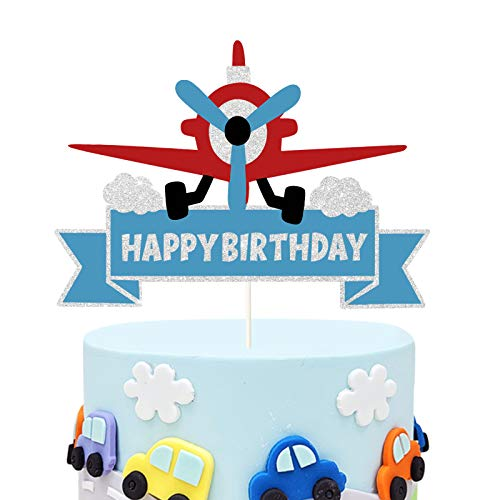 Glitter Airplane Happy Birthday Cake Topper, Time Flies Theme Birthday Cake Decor,Adventure Awaits, Vintage Plane Baby Shower or Birthday Party Decorations