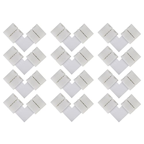 eLander L- Form Schnellverbinder [12 Stück] Für RGB 5050 LED Lichtstreifen Steckverbinder, LED Eckverbinder, LED Strip Connector, 10mm Eckverbinder