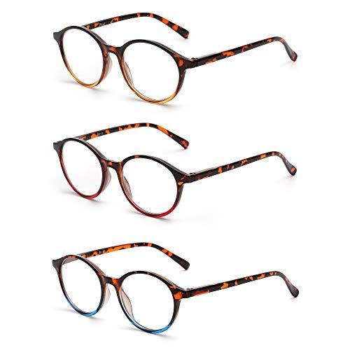 JM 3 Pack Vintage Runden Lesebrille Federscharnier Gläser für Leser Damen Herren +6.0 Mischfarbe