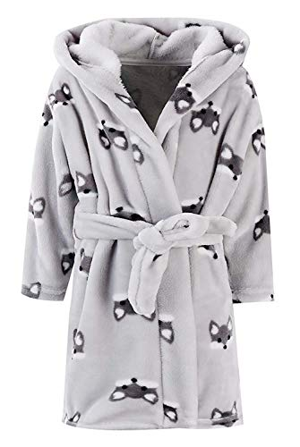 Baby Boys Robe, Flannel Plush Fleece Bathrobe Fox Pattern Cosplay Costume Sleepwear Robe for Toddler Little & Baby Boys, Grey Fox, 2 Years