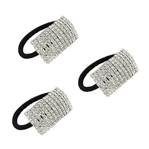 Xiwstar 3Pcs Elegant Hair Scrunchies Elastic Rhinestone Hair Ties Bands Headband for Women Girls Ponytail Holder