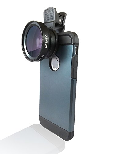 Neshev Phone Camera Lens, 0.45X Super Wide Angle Lens +12.5X Macro Lens, 2 in 1 Clip-On Cell Phone Camera Lens for iPhone 8, 7, 7 Plus, 6s, 6, Samsung, Other Smartphones